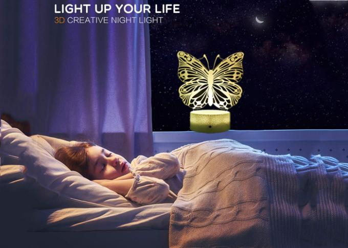 Butterfly Kids 3D LED Illusion Lamps Remote Control Timer White ABS Base