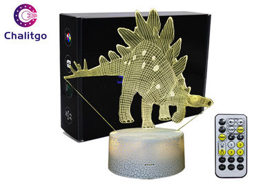 China ABS 3D LED Night Light , 3D Illusion Table Lamp Dinosaur Toys AA Battery supplier