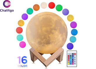 China 16 Colors 3d Printed Moon Light With Stand / Remote / Touch Control supplier