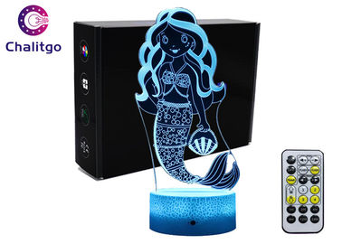 China Mermaid 3D Night Light Table Lamp , Glass Illusions Lamps For Girls Decoration factory
