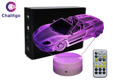 China Car 3D LED Illusion Lamps 7 Colors Boys Bedrooms 3 AA Battery With Timer factory