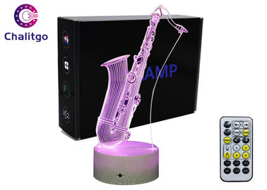 China Magic Saxophone 3D Lamp , 3D Illusion Night Light Touch Switch OEM Accepted factory