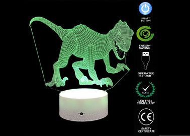 China Dinosaur Toys 3d Illusion Table Lamp / 3d Led Colour Changing Lamp For Boyes Bedroom factory