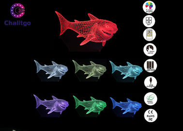 China 7 Colors RGB Shark Gifts 3D LED Illusion Lamps For Girls Bedroom factory