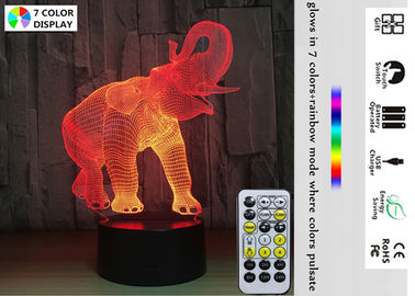 China Bedroom 3D Illusion Night Lamp Christmas Gifts For Girls Boys Elephant Design factory